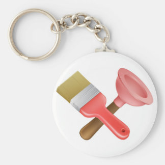 Crossed plunger and paintbrush tools keychain