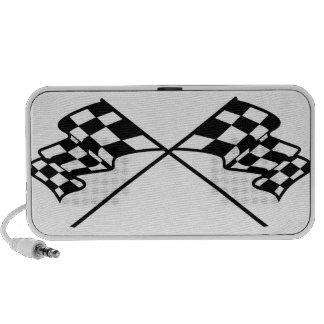 Crossed Racing Flags Laptop Speakers