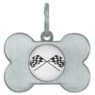 Crossed Racing Flags Pet Name Tag