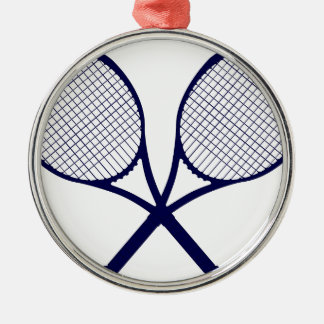 Crossed Rackets Silhouette Silver-Colored Round Decoration