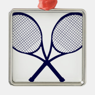 Crossed Rackets Silhouette Silver-Colored Square Decoration