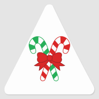 Crossed Red and Green Candy Canes Tied with Bow Triangle Sticker