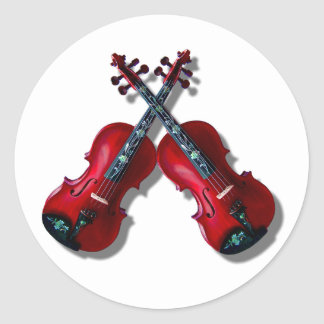 CROSSED RED VIOLINS -BUTTON CLASSIC ROUND STICKER