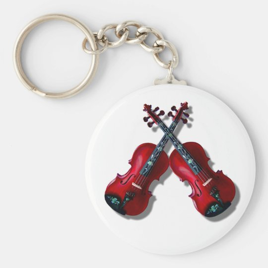 CROSSED RED VIOLINS -KEYCHAIN BASIC ROUND BUTTON KEY RING