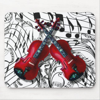CROSSED RED VIOLINS -MOUSEPAD MOUSE MAT