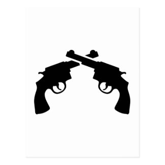 Crossed revolver post card