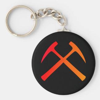 Crossed Rock Hammers Keychain
