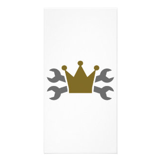 Crossed screw wrench crown photo card template