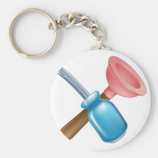 Crossed screwdriver and plunger tools key chain