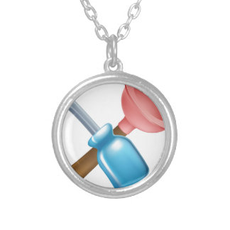 Crossed screwdriver and plunger tools pendant
