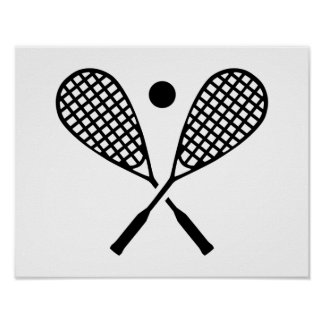 Crossed squash rackets poster
