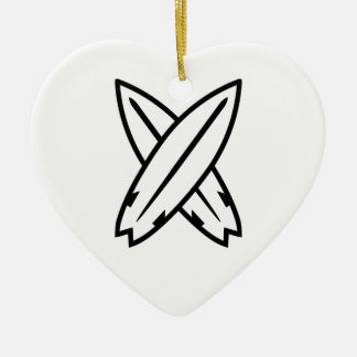 Crossed surfboards christmas ornament