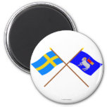 Crossed Sweden and Gotlands län flags 6 Cm Round Magnet