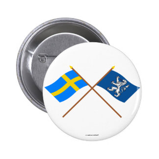 Crossed Sweden and Hallands län flags 6 Cm Round Badge