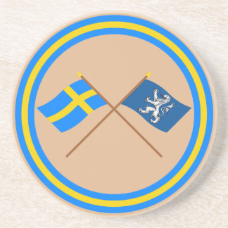 Crossed Sweden and Hallands län flags Coasters