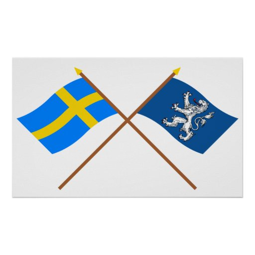 Crossed Sweden and Hallands län flags Posters