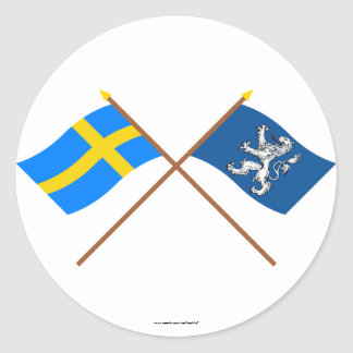 Crossed Sweden and Hallands län flags Round Sticker