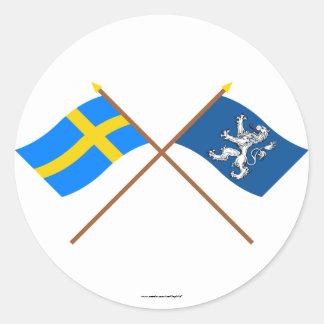 Crossed Sweden and Hallands län flags Round Sticker