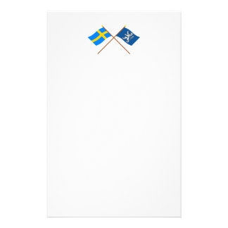 Crossed Sweden and Hallands län flags Stationery Paper