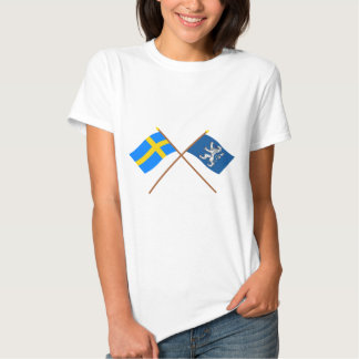 Crossed Sweden and Hallands län flags T-shirts