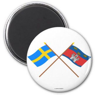 Crossed Sweden and Jönköpings län flags 6 Cm Round Magnet