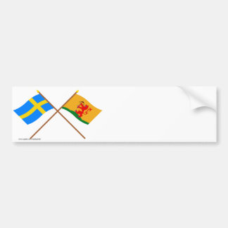 Crossed Sweden and Kronobergs län flags Bumper Sticker