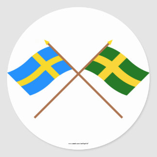 Crossed Sweden and Öland landskap flags Classic Round Sticker