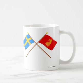 Crossed Sweden and Skåne län flags Mug
