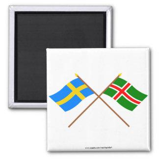 Crossed Sweden and Småland landskap flags Square Magnet