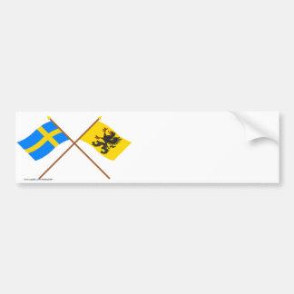 Crossed Sweden and Södermanlands län flags Bumper Sticker