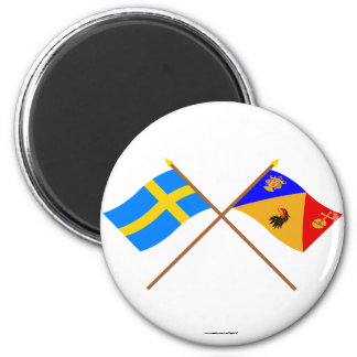 Crossed Sweden and Stockholms län flags 6 Cm Round Magnet