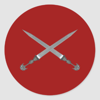 crossed swords crossed swords round stickers
