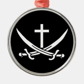 Crossed Swords Silver-Colored Round Decoration