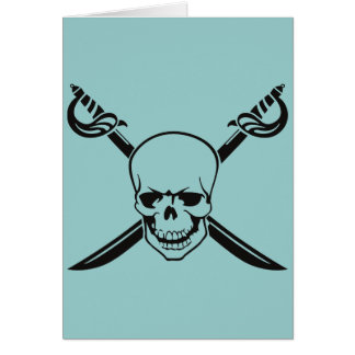 Crossed Swords with Skull Note Card