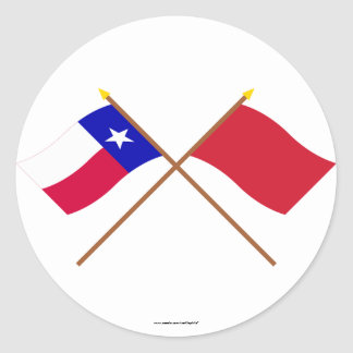 Crossed Texas and Alabama Red Rovers Flags Stickers