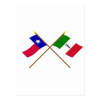 Crossed Texas and Alamo Flags Postcard