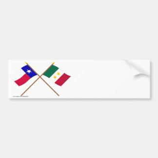 Crossed Texas and Coahuila y Tejas Flags Bumper Sticker