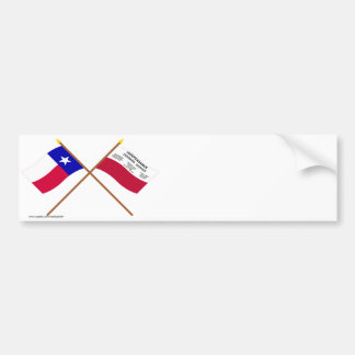 Crossed Texas and Fredonia Flags Bumper Stickers