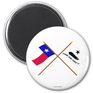 Crossed Texas and  Gonzales Flags Magnets