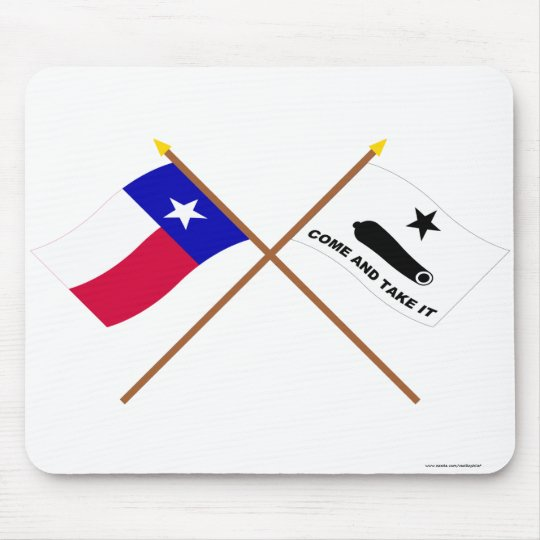 Crossed Texas and  Gonzales Flags Mouse Mat