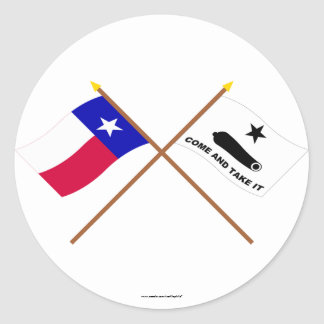 Crossed Texas and  Gonzales Flags Round Sticker
