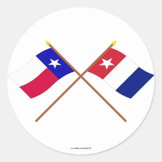 Crossed Texas and Harrisburg Volunteers Flags Round Sticker