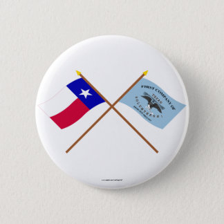 Crossed Texas and New Orleans Greys Flags 6 Cm Round Badge