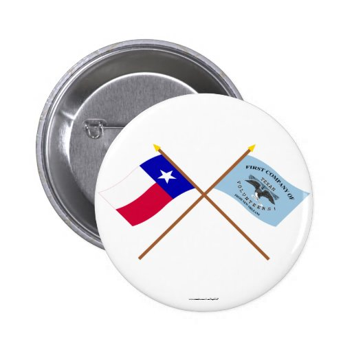 Crossed Texas and New Orleans Greys Flags Button