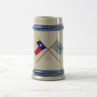Crossed Texas and New Orleans Greys Flags Beer Stein