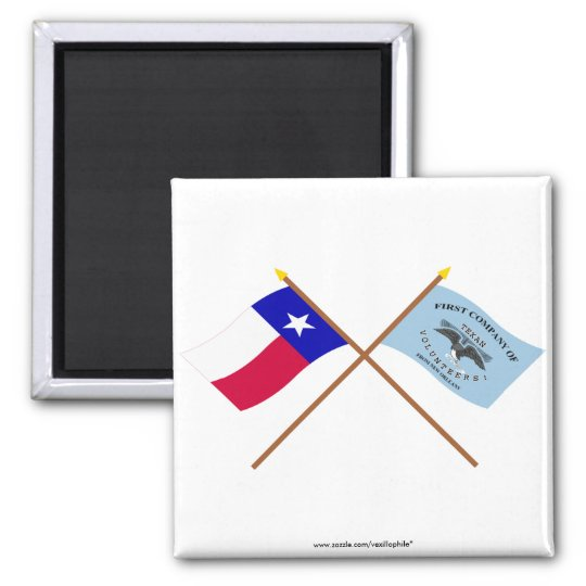Crossed Texas and New Orleans Greys Flags Magnet