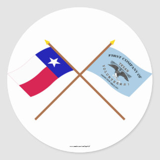 Crossed Texas and New Orleans Greys Flags Sticker