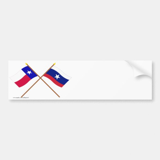 Crossed Texas and Pilot Flags Bumper Stickers