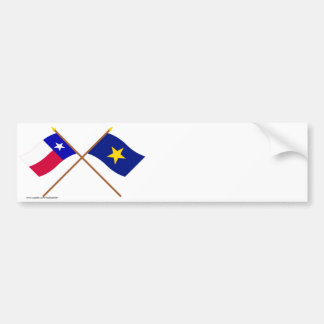Crossed Texas and Republic of Texas Flags Bumper Sticker