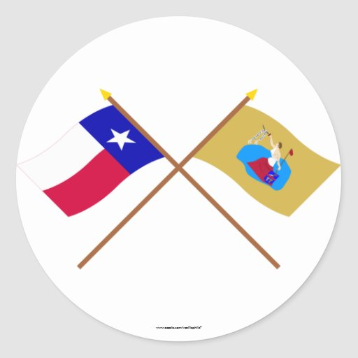 Crossed Texas and San Jacinto Flags Sticker